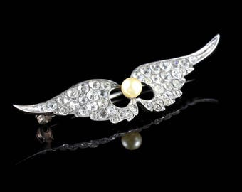 Antique Victorian Angel Wing Pearl Paste Brooch Circa 1890