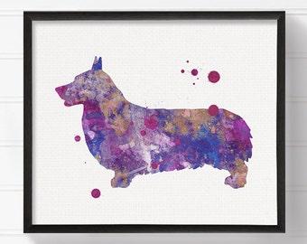 Corgi Art Print, Corgi Painting, Corgi Poster, Watercolor Corgi, Purple Corgi, Watercolor Dog Painting, Dog Poster, Dog Illustration, Framed