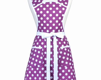 Vintage Women's Apron Old Fashioned 1940-1950's Kitchen Cooking in Modern Purple White Polka Dots - Gift for Mother