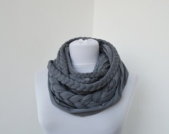 Gray Loop Scarf Infinity Jersey Scarf Partially braided Circle Scarf Scarf Nekclace