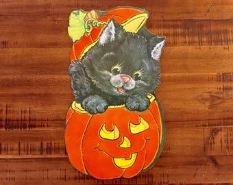 "Flocked Halloween Die Cut/ Black Kitten with Pumpkin / Double-Sided / Measures: 15"" x 8.5"""