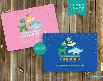 Dinosaur Invitation Invite Child Boy Girl Birthday 5x7 4x6 Stripes Pink Blue Yellow Green