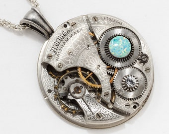 Steampunk Necklace with Vintage Waltham Pocket Watch Movement Flower Engraving on Silver Rope Chain, Crystal & Opal Pendant, Jewelry Gift