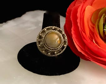 on sale moonstone ring victorian jewelry cabochon round domed gemstone 1800's antique fashion jewelry