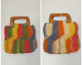 colorful woven straw summer purse - vintage 70s rainbow wood top handle handbag - hippie boho beach tote bag - sisal market bag - 1970s