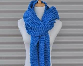 Long scarf, Oversized knit scarf, ladies scarves, winter scarf, chunky knit scarf, blue wool scarf, hand knit scarf, knit scarf woman.