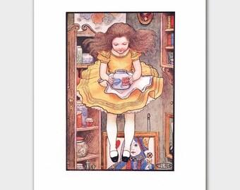 "Jump! Alice in Wonderland Print (Yellow Kitchen Decor, Vintage Fantasy Wall Art) --- ""Marmalade"""