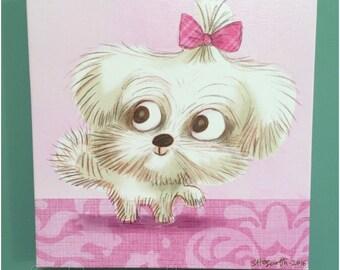 Canvas Print Maltese Puppy Dog Illustration Art