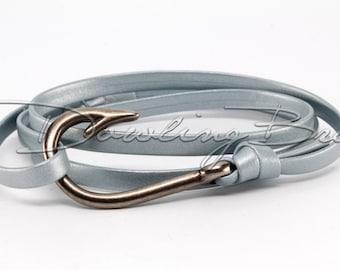 Silver Nappa Leather Fish Hook Bracelet