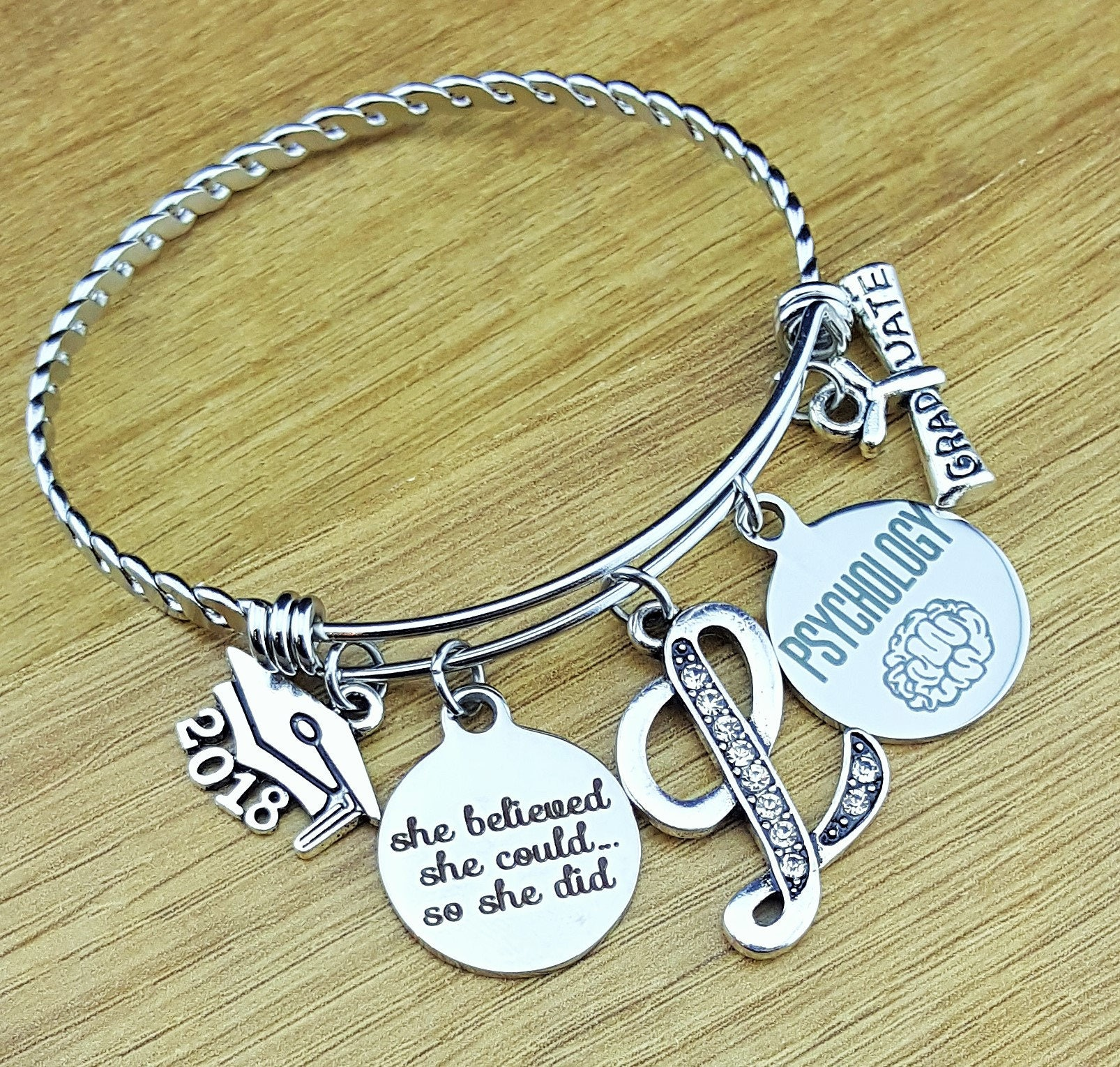for il letter fullxfull charm graduation graduate pt jewelry grad p gift silver birthstone bangle physical therapist women her bracelet
