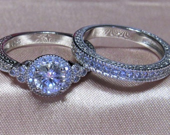 S925 Stamped Sterling Silver, Engagement Wedding Ring Set , Sizes 5-10