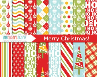 Digital Paper - Merry Christmas, Holidays, Santa, Festive, Scrapbook Paper, Digital Pattern, Commercial Use, JPEG, PDF