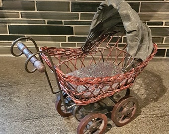 Vintage Small Toy Doll Pram / Baby Buggy / Carriage / Vintage Decor - FREE SHIPPING