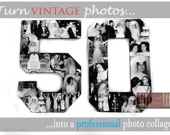 Vintage Wedding, Photo Collage, Old Photos Display, Photo Restoration, Milestone Anniversary Photo Collage, Photos Restoration, Photo Gift