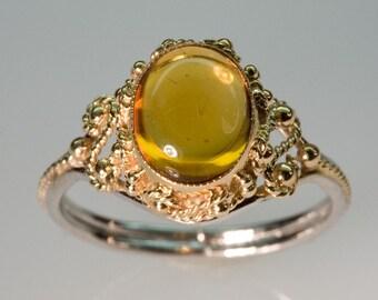 Yellow Topaz Filigree Ring - in 14K gold