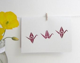 Hand-cut Origami Paper Crane Papercut Card