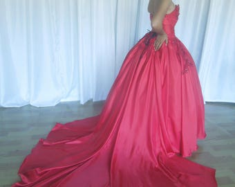 A Ball Gown,Quinceanera,Prom, Wedding, Red,Hand Beaded,Custom,Evening,Satin, Ship Worldwide