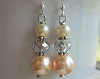 Peach, Grey and Cram Pearl and Crstal Dop Bridesmaids Earrings Jewelry Apricot Light Orange Gray Charcoal Silver