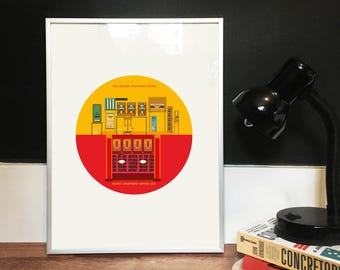 The Grand Budapest Hotel Movie Print - Up side down Illustrated poster, Matte and Giclee Art Prints in A3 or A2 sizes. Wall Art, Home Decor