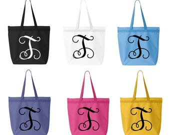 Large Monogrammed Canvas Tote Bag - Personalized Vine Initial-Calligraphy Initial-Personalized Tote Bag Purse-6 Color Totes to choose from
