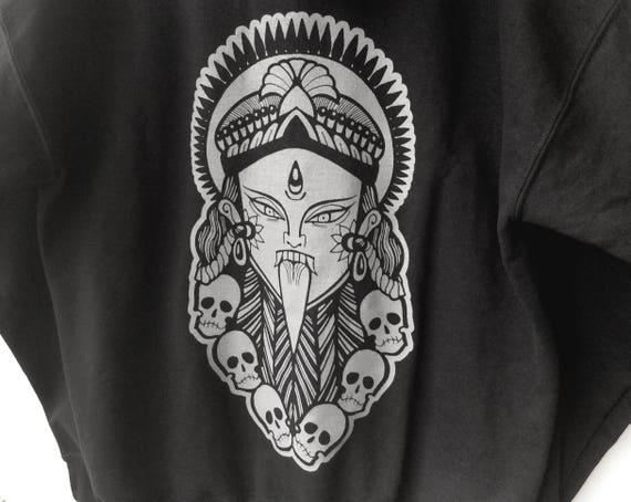 KALI HOODIE UNISEX Hindu Goddess Skulls Mandala Pattern Hoodie Tattoo Design Skate Urban Festival Streetwear xSBpyGclO