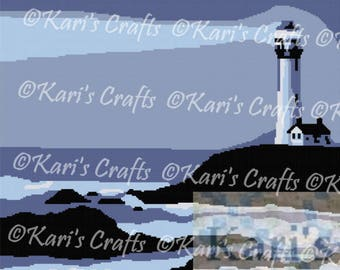 Lighthouse on a Rocky Seashore Afghan PDF Pattern GRAPH ONLY - Instant Download
