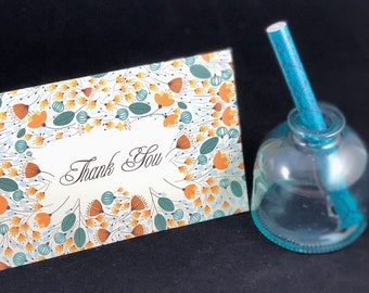 WildFlower Bloom Thank You Cards, Designer Thank You Cards, Floral Thank You Cards