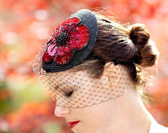 Red Fascinator Hat with Flower Shaped Sequin Embellishment and Black Chenille Veiling - JULIETTE