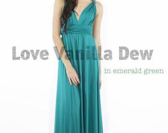 Bridesmaid Dress Infinity Dress Emerald Green Floor Length Maxi Wrap Convertible Dress Wedding Dress