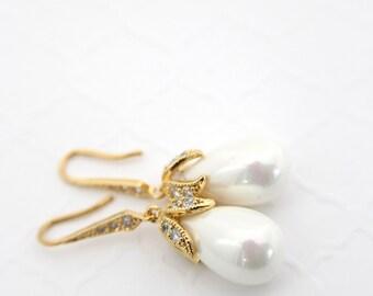 Gold Bridal Earrings Pearl, Earrings Wedding Gold, Teardrop Pearl Earrings Dangle, Bridal Pearl Earrings Gold, Wedding Pearl Earrings White