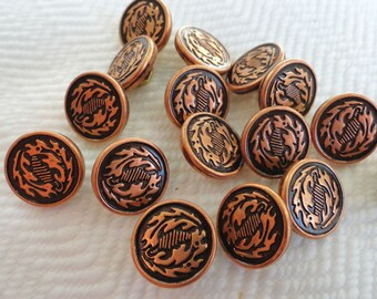 Oak Leaf Vintage Metal Buttons - 12 Copper Tone Metal 1/2 inch 12mm for Jewelry Supplies Beads Sewing Knitting