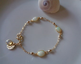 Gold bracelet with opal, 585 gold filled