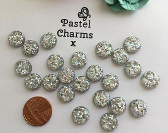 Pack of 10 glass dome sliver glitter embellishments 12mm
