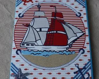 Sailing boat on maritime map