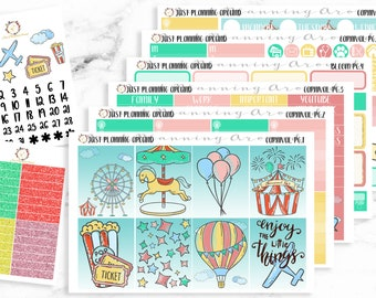Carnival Planner Kit, Amusement Park Weekly Kit, Theme Park Planner Kit, for use with Erin Condren