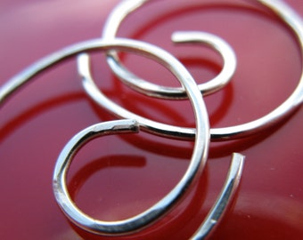 Free Shipping Husband. Small Hoop Earrings. THINNIEST. Swirl. Hammered surface. 20 gauge silver filled wire