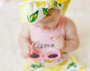 Lemonade Head wrap- fruit head wrap, tropical head wrap, girls bow tied head wrap