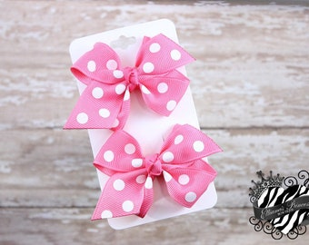 Pink Dots Pigtail Set - Pigtail Bows Set - Piggy Sets - Toddler Hair Bows - Girls Hair Bows - Back to School Hair Bows - 2.5 Inch Bows
