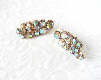 Aurora Borealis Rhinestone Clip Back Earrings Chain Dangle 1950s Costume Jewelry Wedding Bridal Formal Pageant Ballroom Prom Blue Amber Gold