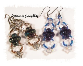 Ice Crystal Earrings, Beading Tutorial in PDF