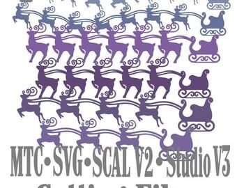 SVG Cut File Santa Sleigh with Reindeer Design #03 Bundle of 18 Borders Cut File MTC SCAL Cricut Silhouette Cutting File