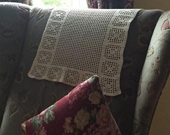 Vintage Crochet panel, chair back cover, protector, placemat, table mat, window treatment, crochet filet