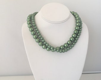 Green Necklace, Green Double Strand Necklace, Green Pearl Necklace, Dark Olive Green, Pearl, Glass Pearl
