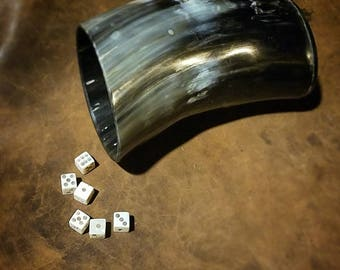 Drinking Horn Cup and Bone Dice set