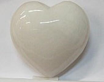 Heart in 40mm White Jade
