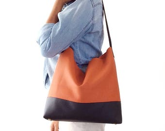 Orange leather bag, vegan leather bag, hobo bag purse, brown leather bag, soft leather bag, Italian leather bag, Made in Italy, shoulder bag