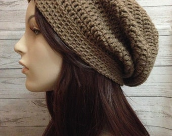 Light Brown Crochet Hat / Light Brown Slouchy Beanie / Womens Crochet Slouchy / Crochet Slouchy Hat / Boho Slouchy Hat / Womens Accessories