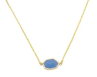 Periwinkle crystal pendant necklace, Geometric pendant gold jewellery, Sky blue gem necklace, Christmas gifts for mom, Bridal gold jewellery