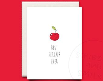 Best teacher ever thank you card - greeting card - thank you card