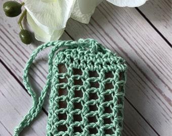 CROCHET SOAP SAVER -  Mesh Cotton Soap Bag - Soap Sack -Soap Sleeve - Great for Camping - Drawstring Bag - Soap Sock- Handmade Soap Saver